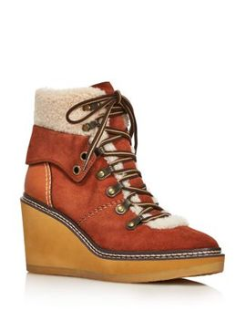 Women's Eileen Shearling Lined Wedge Hiker Booties   100 Percents Exclusive by See By Chloé