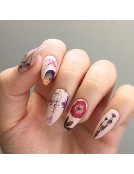 Pressed Dried Flowers Design Water Slide Nail Decals/Nail Tattoos/Nail Stickers by Etsy