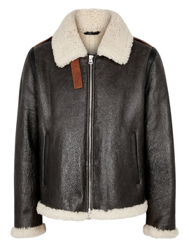 Brown Shearling Trimmed Leather Jacket by Acne Studios