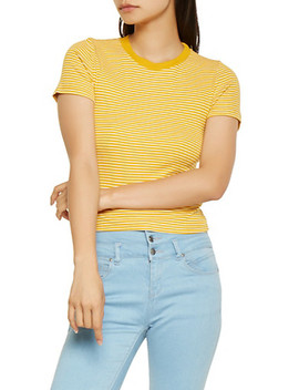 Striped Ribbed Knit Tee by Rainbow