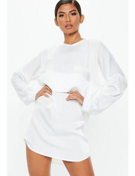White Oversized Satin Overlay Dress by Missguided