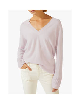 Jigsaw Cashmere V Neck Jumper, Rose Water by Jigsaw