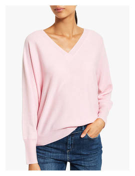 Mint Velvet Cashmere V Neck Batwing Jumper, Pink by Mint Velvet