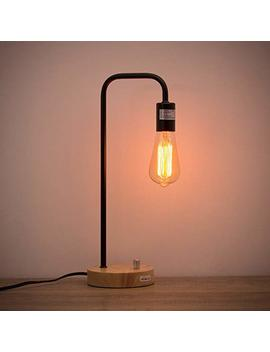 Haitral Desk Lamp Wooden Industrial Table Lamp For Office, Bedroom, Living Room by Haitral