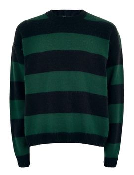 Green And Navy Block Stripe Jumper by Topman