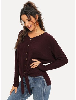 Button Front V Neck Knot Tee by Shein