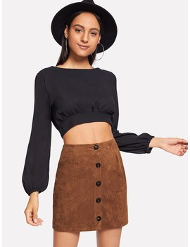 Suede Single Breasted Solid Skirt by Sheinside