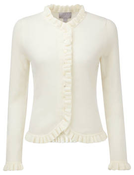 Pure Collection Fewston Ruffle Edge Cashmere Cardigan, Soft White by Pure Collection