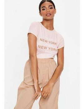 Pink New York City Fitted T Shirt by Missguided
