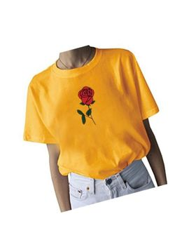 Women's Cute Graphic T Shirt Rose Tops Teen Girl Tees by Generic