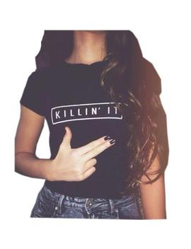 Cute Killin' It Women's Graphic Shirt Trendy Black T Shirt Short Sleeve Tee L by Unbranded