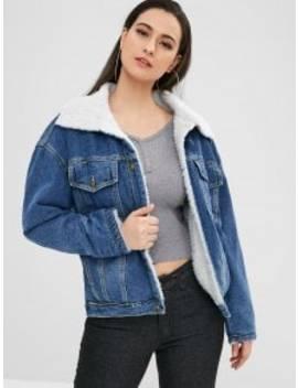 Winter Faux Fur Lined Denim Jacket   Blue S by Zaful