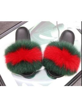 Women's Sliders Luxury Real Fox Fur Indoor Outdoor Slides Slippers Sandals Shoes by Unbranded