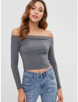 Knitted Off Shoulder Crop Tee   Gray S by Zaful