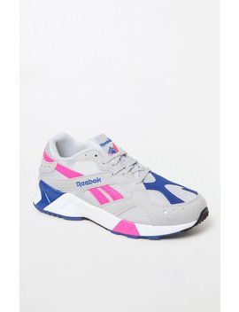 Reebok Aztrek Grey & Pink Shoes by Pacsun