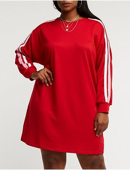 Plus Size Striped Sleeve Sweatshirt Dress by Charlotte Russe