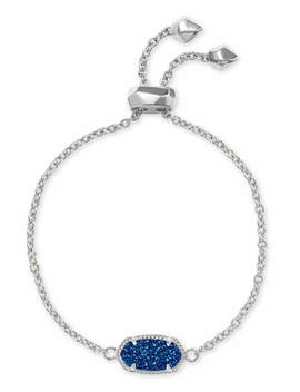 Elaina Silver Adjustable Chain Bracelet In Blue Drusy by Kendra Scott