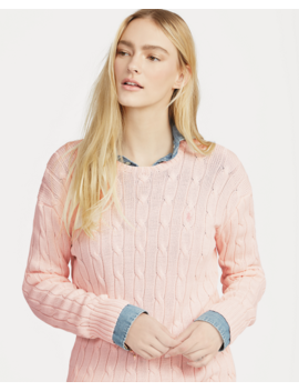 Pink Pony Cable Cotton Jumper by Ralph Lauren