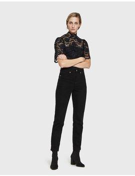 Flynn Lace Bodystocking In Black by Ganni