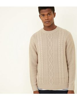 Off White Twisted Cable Knit Jumper by New Look