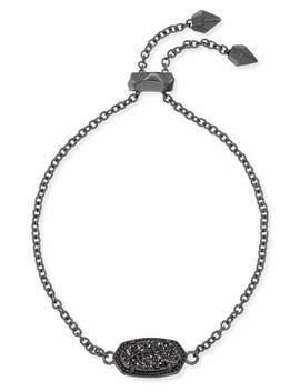 Elaina Gunmetal Adjustable Chain Bracelet In Black Drusy by Kendra Scott