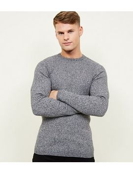 Grey Muscle Fit Long Sleeve Ribbed Jumper by New Look