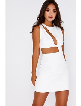 Sarah Ashcroft White Faux Suede Cut Out Mini Dress by In The Style