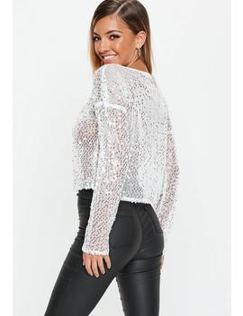 Silver Sequin Sheer Top by Missguided