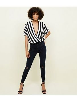 Navy Ripped Super Skinny 'lift & Shape' Jeans by New Look