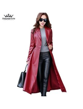 2018 Spring Autumn Women Leather Jacket  Fashion High End Pu Leather Coats X Long Belted Slim Pu Leather Trench Coats Sk113 by Tnlnzhyn