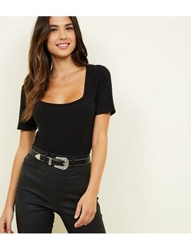 Black Square Neck Ribbed Bodysuit by New Look