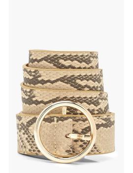 Faux Snake Print Circle Belt by Boohoo