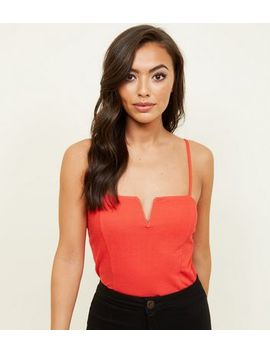 Red Notch Neckline Bodysuit by New Look