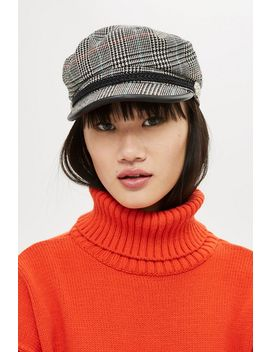 Houndstooth Baker Boy Hat by Topshop