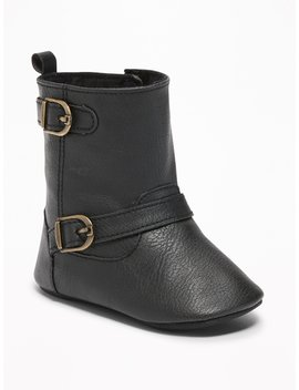 Faux Leather Buckled Boots For Baby by Old Navy