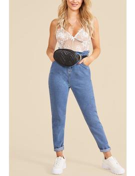 Elastic Ruffle Waist Mom Jeans by Boohoo