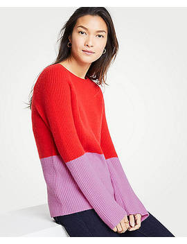 Cashmere Colorblock Ribbed Crew Neck Sweater by Ann Taylor