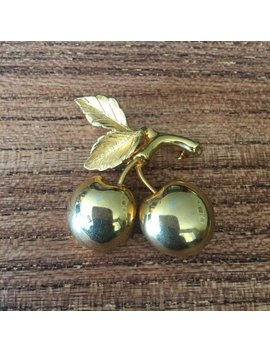 Cherry Brooch, Gold Tone Cherry Brooch, Vintage Cherry Brooch, Vintage Jewelry, Gold Tone Brooch by Etsy