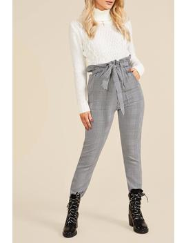 Woven Mono Check Paperbag Slim Fit Trousers by Boohoo