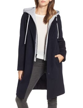 Hoodie Inset Wool Blend Coat by Rachel Rachel Roy