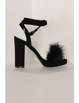 Black Faux Feather Wrap Around Heels by Lasula