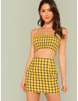 Plaid Print Shirred Strapless Crop Top And Skirt Set by Shein
