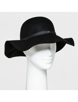 Women's Faux Leather Band Felt Floppy Hat   A New Day™ Black by A New Day™