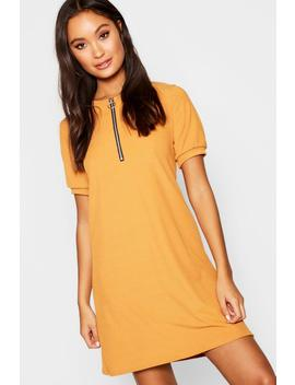 Zip Front Ribbed Tee Dress by Boohoo