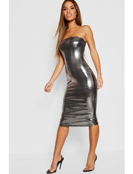 Petite Metallic Bandeau Midi Dress by Boohoo