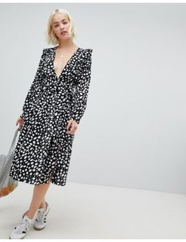 Glamorous Long Sleeve Midi Dress With Flutter Sleeves In Smudge Spot Print by Glamorous