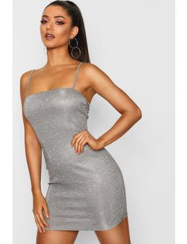 Metallic Glitter Square Neck Strappy Dress by Boohoo