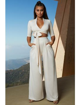Collar At Me Wide Leg Two Piece In White by Oh Polly