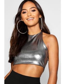 Petite Metallic Halterneck Top by Boohoo