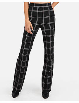 High Waisted Windowpane Wide Leg Pant by Express